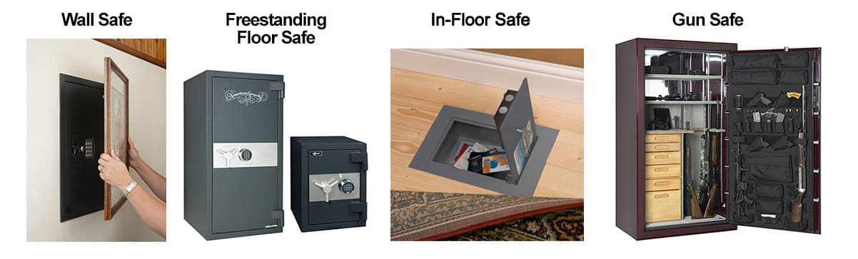 image of four types of safes we sell and service: wall safe, free-standing floor safe, floor safe, and gun safe.