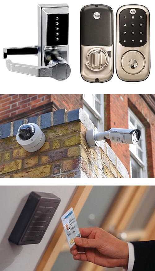 image of analog and digital keypad locks (top) outdoor surveillance cameras (middle) and a key card access control system reader (bottom).