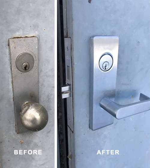 image of the Before (L) and After (R) of a commercial exit door with new hardware that is now fire safety compliant