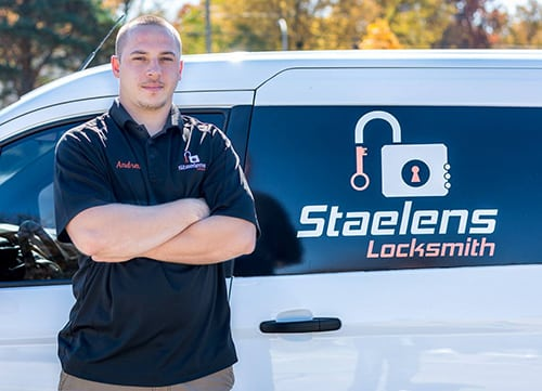 image of Andrew in front of the Staelens locksmith van in Detroit Michigan