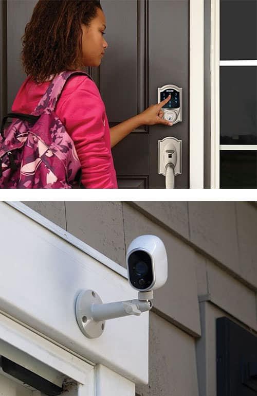 image of a young woman operating a Schlage SmartLock on a front door (top) and a security camera (bottom)