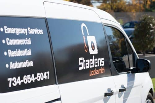 image of the side of one of Staelens locksmith vans on site in Troy, MI