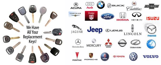 image of a variety of car keys and automotive logos that we frequently work on